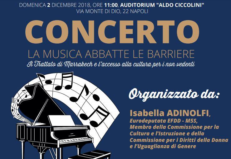 """L'eurodeputata Isabella Adinolfi (M5S) organizza il concerto """"La musica abbatte le barriere"""": «Porto a Napoli il mio impegno per l'accesso alla cultura»"""