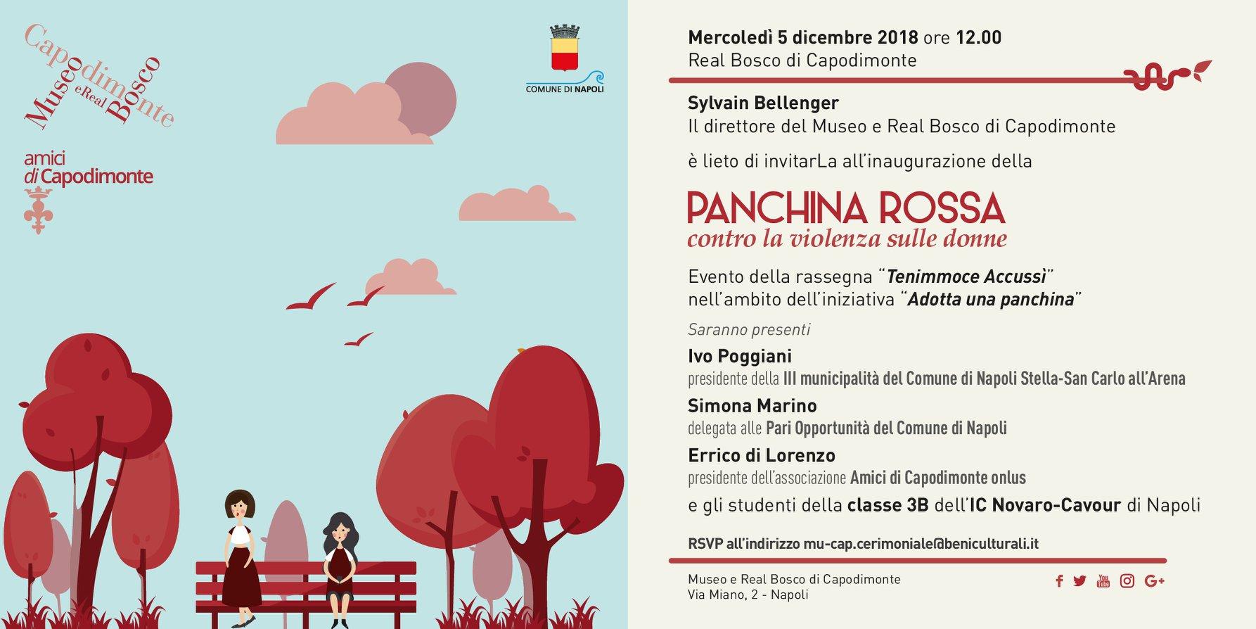 La prima panchina rossa a Napoli. L'evento al Bosco di Capodimonte