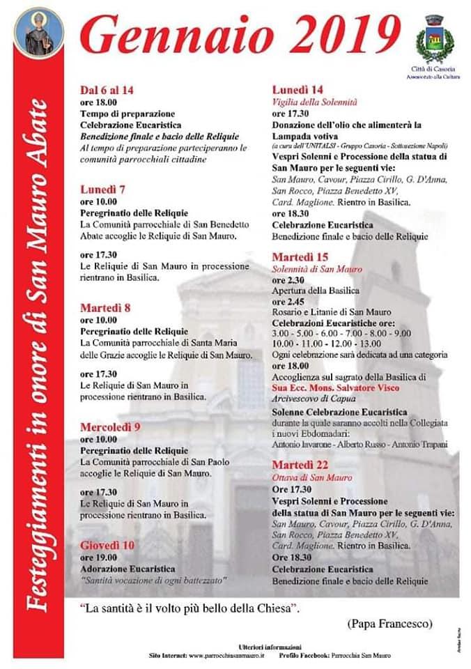 Casoria. Il programma della Festa di San Mauro 2019