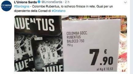 """La colomba della Juve si trasforma in """"Rubentus"""", dipendente nei guai. La foto è virale"""