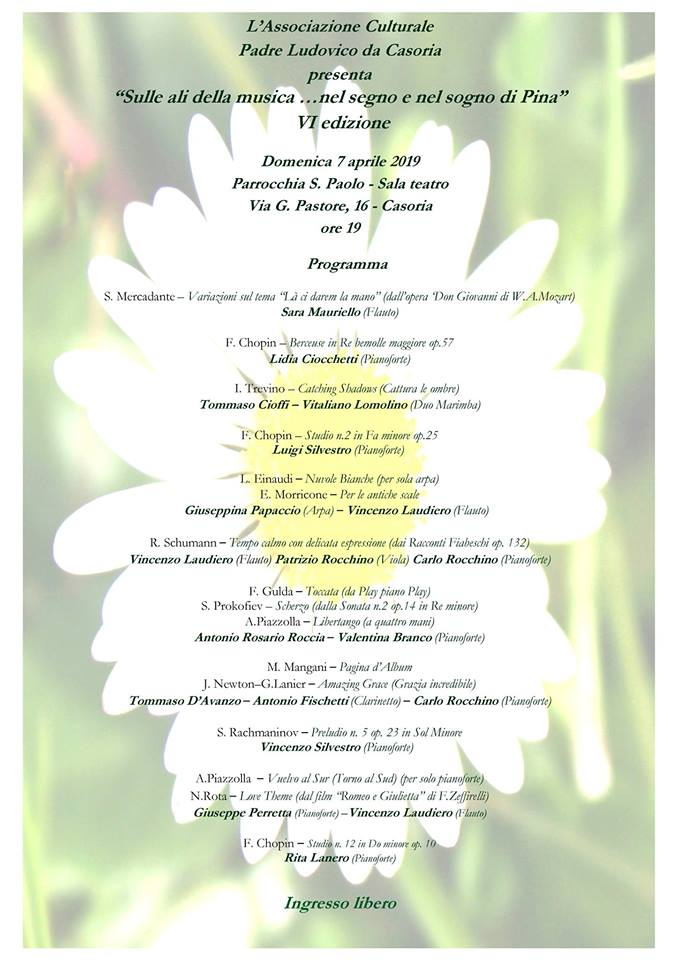 """Evento musicale a Casoria: la 6° edizione di """"Sulle ali della musica"""" in ricordo di Pina Mugione"""