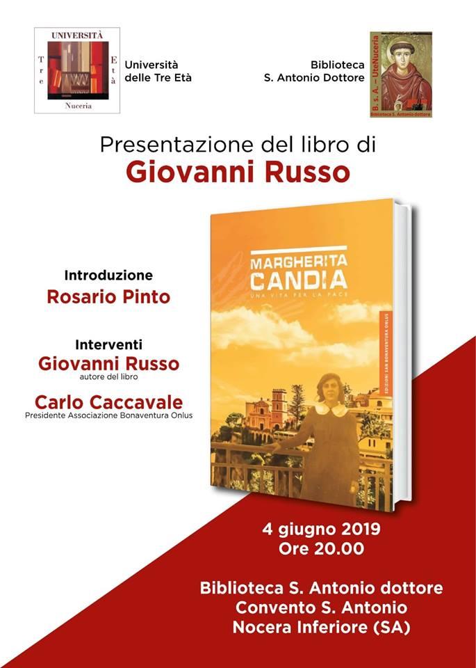 """Nocera Inferiore. Presentazione del libro """"Margherita Candia: una vita per la Pace"""""""