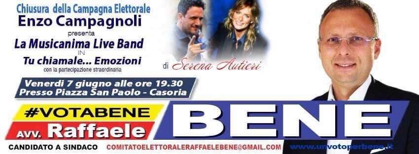 Una grande festa in piazza. Raffaele Bene chiude la campagna elettorale con Campagnoli e Serena Autieri