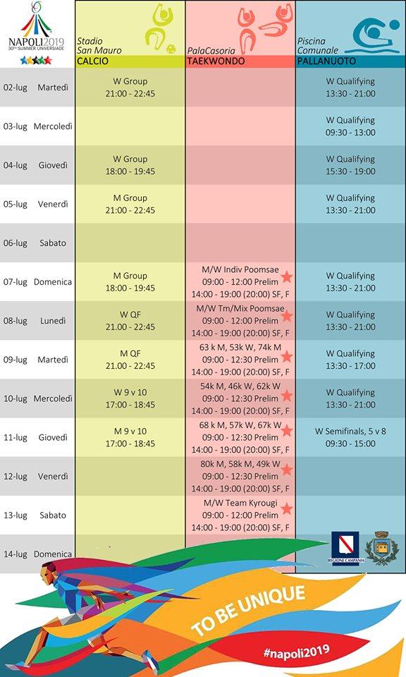Universiadi a Casoria: il calendario degli eventi