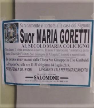 Afragola: oggi l'ultimo saluto a suor Maria Goretti