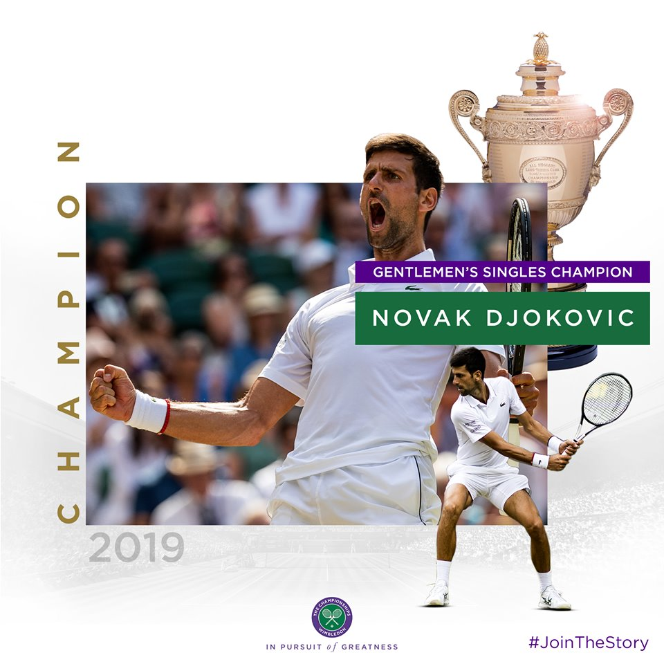 Wimbledon 2019. Djokovic batte Federer in un match avvincente