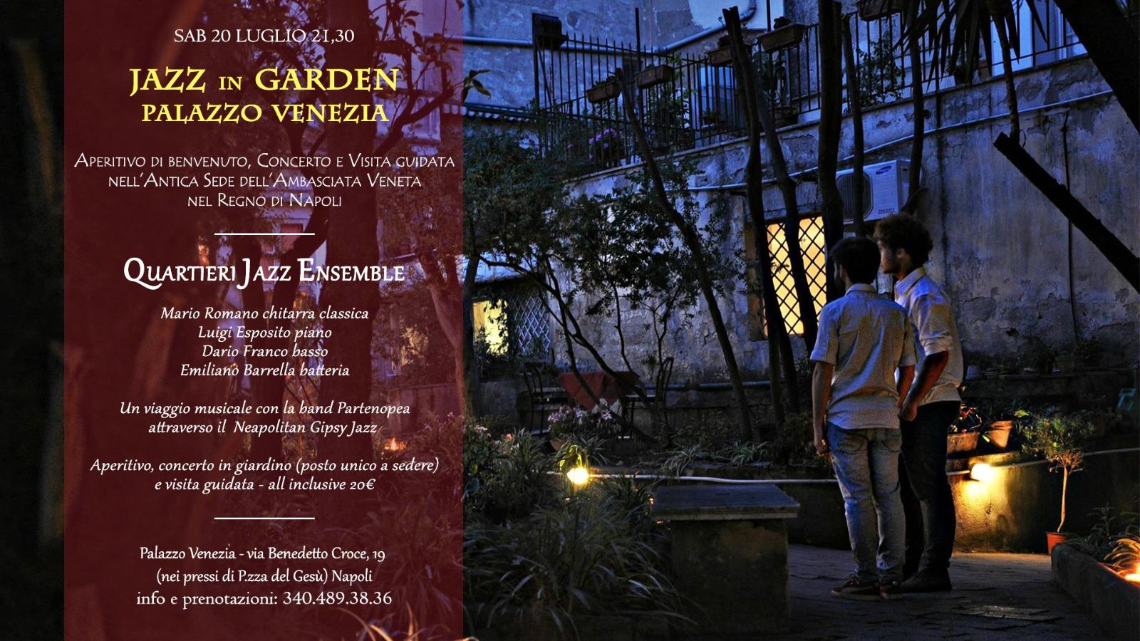 Jazz in garden al Palazzo Venezia di Napoli: aperitivo, concerto e visita guidata