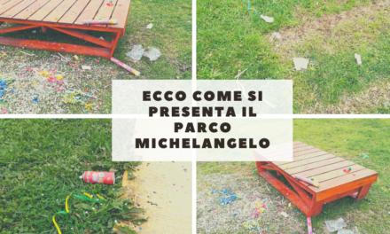 Parco Michelangelo a Casoria. Dopo il carnevale si presenta in questo modo