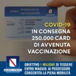 Campania. Al via la consegna di 250.000 card per l'attestazione di avvenuta vaccinazione